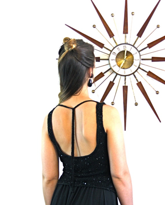 Black Fully Beaded Tank/ Vintage 80s top/ Spaghetti Strap Blouse/ Sparkly Black Glass Beads/ Open Tie Back/ Sex Top/ 1980s Backless Blouse