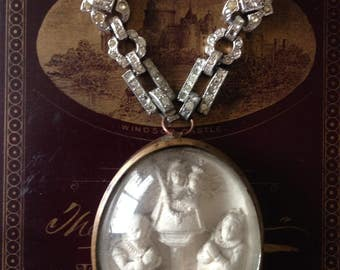 Antique  French Religious Meerschaum Pendant Necklace, Hand Carved Our Lady Assemblage Necklace