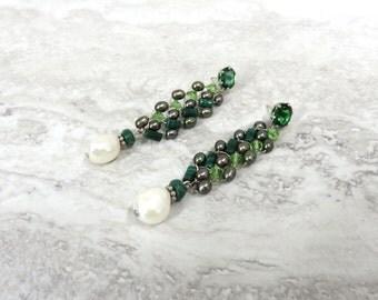 Emerald Green Earrings with Pearl Drop-Long Traditional Earrings, Art Deco Earrings,(Green & White) Flapper Earrings, Great Gatsby Earrings,