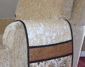 Quilted Armchair Caddy, Bedside Caddy, Tan Brown Black Jacobean