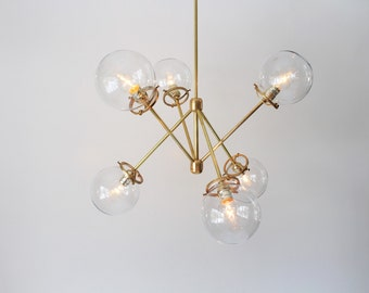 Modern Brass Chandelier, 6 Clear Glass Globes, Industrial Art Lighting, BootsNGus Lighting and Home Decor