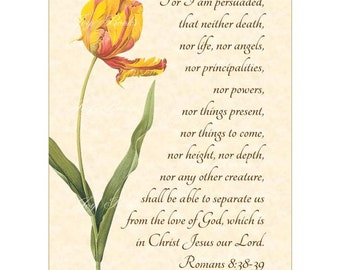 NOTHING Can SEPARATE US Romans 8:38-39 Vintage Verses Christian Home Decor Calligraphy Wall Art Parchment 5x7 Inspirational Wall Art Tulip