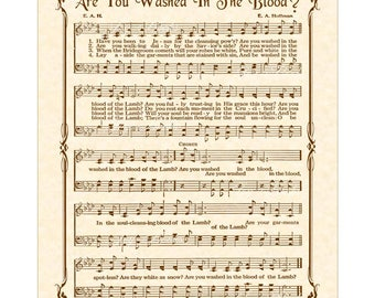 Are You Washed In The Blood Custom Christian Home Decor VintageVerses Sheet Music Hymn Wall Art Inspirational Wall Decor Antique Hymn Cross