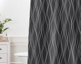 Modern Black Shower Curtain // Bathroom // Fuge Slate Design // Modern Geometric // Shower // Bathroom Decor // Minimalist Decor // Black