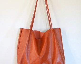 Nana handmade rust orange leather minimalist tote