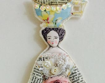 Larger Size Flat Tea Cup Lady Doll Ornament Handmade Modern Vintage Look Fabric Doll Decoration Embellished Textile Art Doll Fabric Ornament