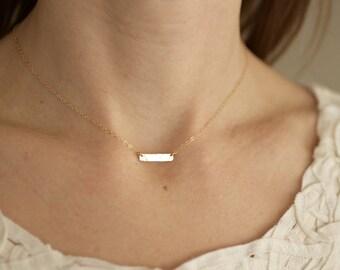 gold choker, gold bar necklace, gold bar, bar choker, dainty choker, delicate choker, simple hammered bar, sterling silver, N45
