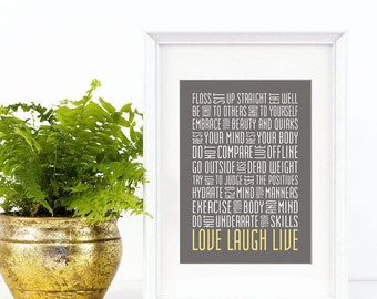 Everyday Life Reminders Print 5x7 Word Art Subway Art Live Laugh Love