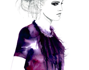 Amethyst Drips, print from original watercolor and pen fashion illustration by Jessica Durrant