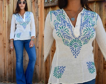 Vintage 70s INDIAN Gauzy Cotton EMBROIDERED Tunic Xs S
