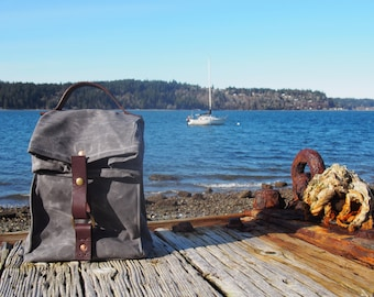 Gray Waxed Canvas, Cordura, and Leather Reusable Insulated Lunch Bag - Ready to Ship!