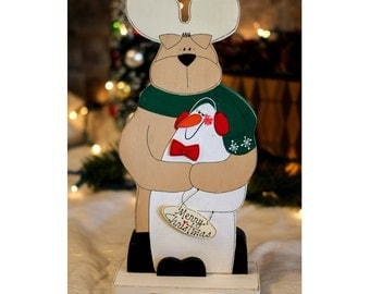 "Snow Buddies 10.5"" - Wooden Reindeer & Snowman - Merry Christmas - Wood Holiday Tabletop Decoration with Distressed Finish"