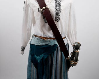 Blue turquoise leather battleskirt mini banner time flies embroidery larp fantasy fair female armor costume pirate cosplay wings hourglass