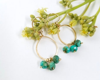 Gold hoop earrings with turquoise - by Tidepools Jewelry, simple hoop earrings, gold circle earrings, gold hoop earring, dangle earring