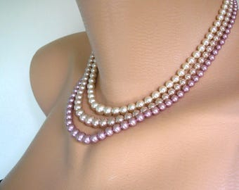 Pink Pearl Set, Pompadour Pearls, Pearl Necklace and Bracelet Set, Great Gatsby, Deco, Bridal Jewelry, Pearl Choker, Pink Pearl, Demi Parure