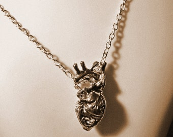 anatomical heart pendant, valentines day gift, steampunk gothic necklace