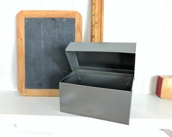 Grey Chein Recipe or File Box, Made in the USA, Standard Size, 3.5x5.25 on the Front and 3x5.25 on the Top, Metal