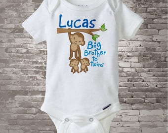 Boy's Big Brother to Twins Monkey Onesie or Shirt with twin Baby Monkeys, Personalized Pregnancy Announcement  01092014b1