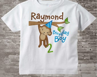 2nd Birthday Monkey Birthday Shirt, Personalized Second Birthday Boy Monkey Shirt or Onesie any age 12312013j