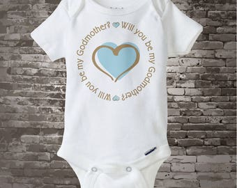 Boy's Will You Be My Godmother with Blue Heart Tee Shirt or Onesie (03052015a)