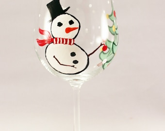 Snowman and Christmas tree hand painted wine glass - Holiday wine glass - painted Christmas glass - single glass