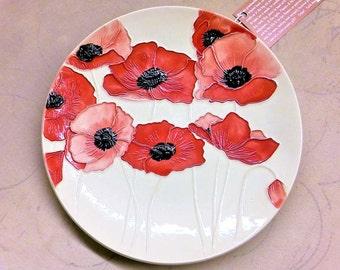 "REALLY RED POPPIES!  9"" Ceramic Poppy Wall Hanging Art Brings Summer Indoors!  100% Handmade        1"