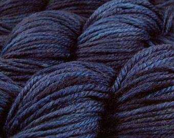 Hand Dyed Yarn - Aran Weight Superwash MCN (Merino Wool / Cashmere / Nylon) Yarn - Ink Tonal - Heavy Worsted Knitting Yarn, Navy Blue