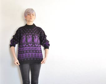 CAT lady sweater . heart tulip kitten knit pullover . you're well on your way .medium.large