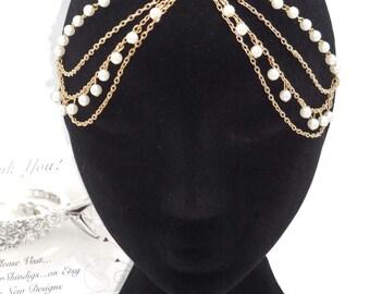 Hair Chain Gold & Pearl Headpiece Jewelry ~ Bohemian Headband Kundan Goddess BOHO Headchain
