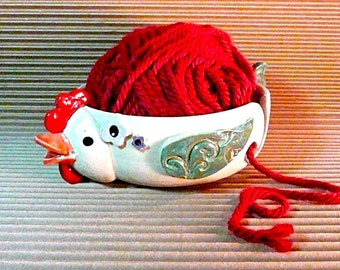 CHICKEN YARN BOWL, Hen, Yarn Organizer ,  free pendant with each order