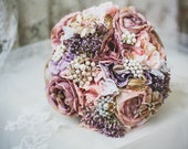 Image of Dusty pink flowers, brooch bouquet, bridal bouquet, babies breath posy, throw bouquet, rustic flowers, pink flower bouquet, pearl bouquet