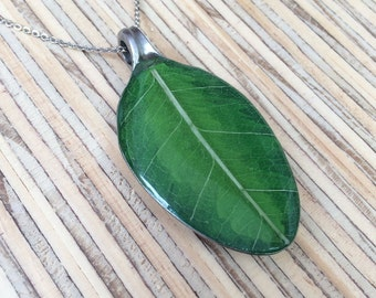 Green Leaves , Spoon Necklace , Resin Pendant