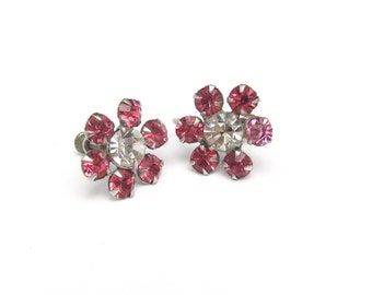 Vintage Rhinestone Earrings, Pink Rose Rhinestone Earrings, Screw On, Dainty Party Earrings, Flower Rhinestone Earrings