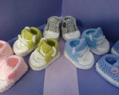 How to Crochet My Easy Converse Style Slippers patterns Newborn to UK size 4 half sizes included