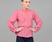 70s Pink Sheer Lace Blouse 1970s Prairie Top Vintage Victorian Revival Peplum Waist Long Sleeve Shirt Small Medium S M