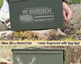 Green Storage Box, Ammo Can .50 Caliber Personalized Gift, Grandpa Gift, Gift for Men, Camo Hunting Fishing Camping Shooting, Gift Box
