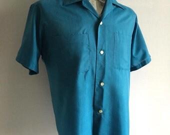 Vintage Men's 50's Blue Shirt, Short Sleeve, Button Down by JC Penney Co. Inc. (L)