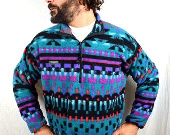 Vintage 80s 90s Columbia Geometric Southwest Print Fleece Pullover