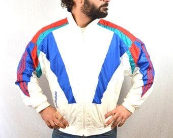 Vintage 90s Adidas Rainbow Windbreaker Track Jacket