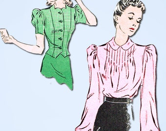 1930s Vintage Du Barry Sewing Pattern 2328 Misses Tucked Blouse Size 12 30 Bust