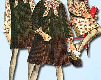 1960s Vintage McCalls Sewing Pattern 7933 Helen Lee Girls Dress & Coat Size 7