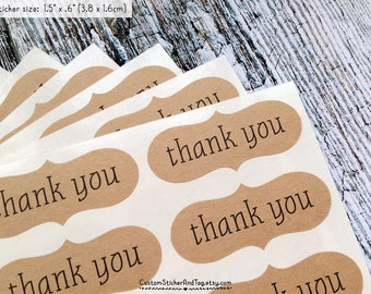 60 thank you stickers, bracket shape, choose size and paper color, envelope seals, wedding favor stickers, gift labels, favor labels (S-44)