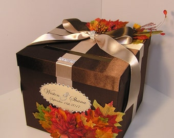 Wedding  Card Box Fall Gift Card Box Choco Brown and Champagne Money Box Holder-Customize/made to order (10x10x9)