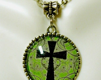 Reversible tree of life and green and purple blue cross pendant and chain - AP05-080