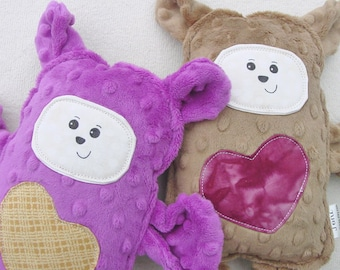Peanut Butter and Jelly Bear Set - Bears for Best Friends Twins Siblings - Hand Drawn Face - Brown Pink - PBJ - Two Plush Minky Bears
