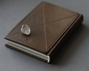 Classic leather journal in brown goatskin with two tone pages - can be customized with initials