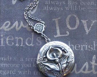 Silver Calla Lily Locket Necklace- Enchanted Calla Lily - Picture Locket, Photo Locket - ROMANTIC Bride Wedding Anniversary Gift LOCKET Lily