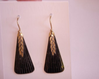Jet Black 925 Gold Tone Dangle  Earrings