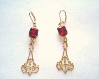 Ruby Glass Earrings Dangle