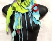 Sea and Sky Feather...Sculpted Skinny Scarf OOAK, Recycled